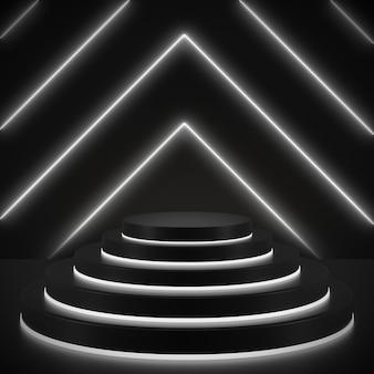 3d render geométricas, linhas brilhantes, túnel, luzes de néon, realidade virtual, abstrato com cenas de pódio pretas em néon preto e branco.