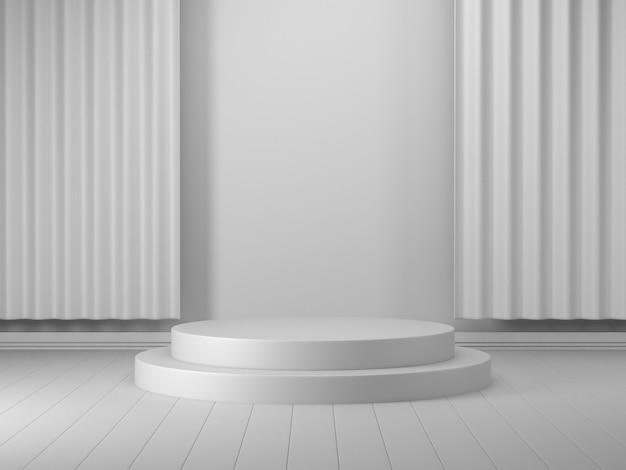 3d render geométrico pódio vitrine 3d branca do pódio para o produto