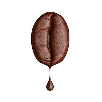 3d render gota de café pingando do grão de café sobre fundo branco