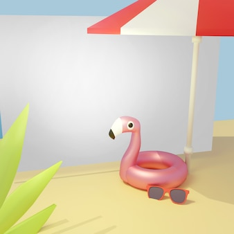 3d render, guarda-chuva de praia de férias de verão, banners em branco, modelo de design cartão, anel de vida flamingo, óculos de sol.