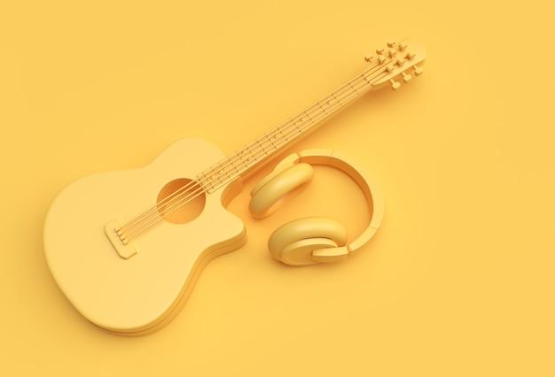 3d render guitar acoustic with music headphone 3d illustration design.