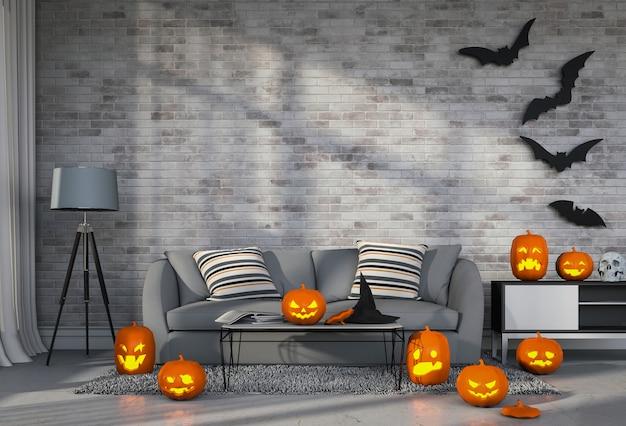 3d render halloween na sala de estar com abóboras