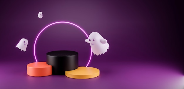 3d render halloween product display stage com cópia espaço