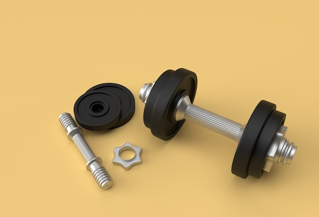 3d render halteres set, realistic detalhado close up view isolado sport element of fitness dumbbell design.