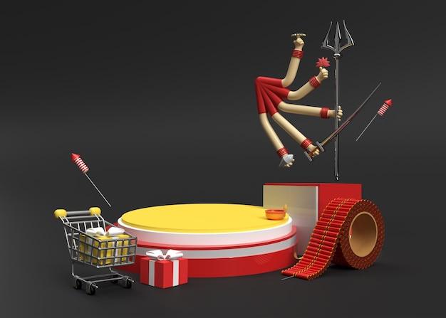3d render happy durga puja scene of minimal podium scene for display products advertising design.