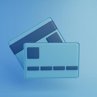 3d render ícone de cartão de crédito azul com fundo azul