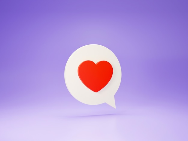 3d render ícone de coração.
