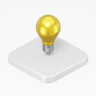 3d render ícone de lâmpada amarela na tecla do botão quadrado branco isolada no fundo branco