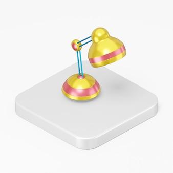 3d render ícone de lâmpada de mesa colorido na tecla do botão quadrado branco isolada no fundo branco