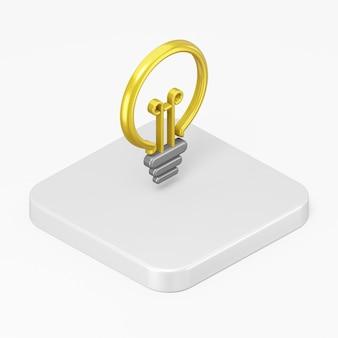 3d render ícone de lâmpada plana amarela na tecla do botão quadrado branco isolada no fundo branco
