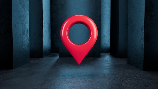 3d render ícone de localização vermelho isolado em um fundo azul escuro com colunas