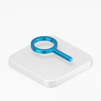 3d render ícone de lupa azul na tecla do botão quadrado branco isolada no fundo branco