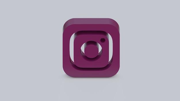 3d render ícone do instagram em fundo cinza