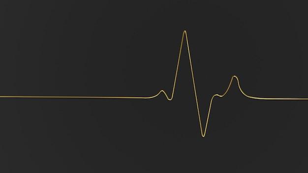 3d render ícone dourado de frequência cardíaca em fundo preto