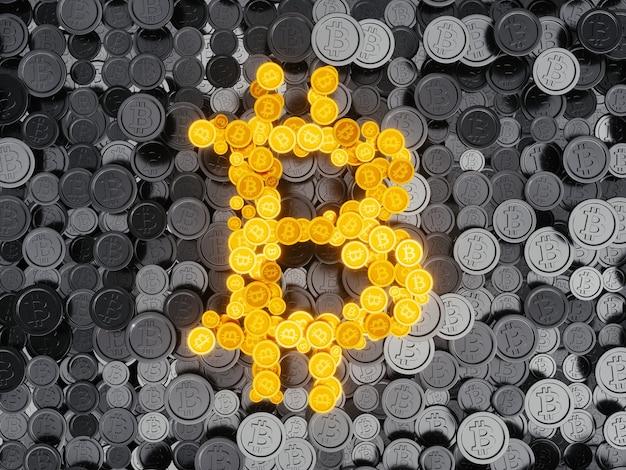 3d render ilustração bitcoin crypto moeda símbolo formando gold shiny letter