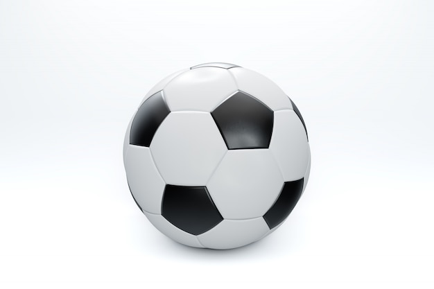 3d render ilustração. bola de futebol ou futebol isolada com traçado de recorte no fundo branco.