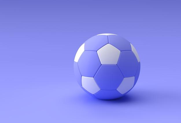 3d render ilustração de futebol, bola de futebol com fundo azul