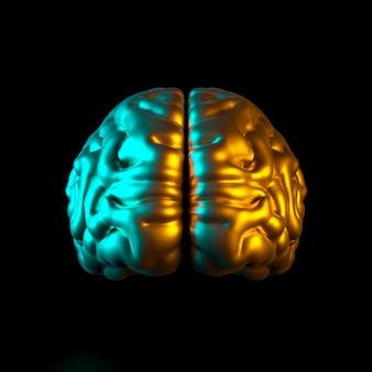 3d render ilustração de um cérebro humano colorido ouro