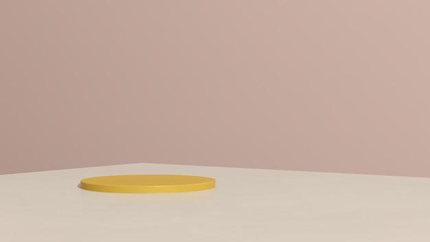 3d render imagem amarela pódio com fundo rosa anúncio de exibição de produto