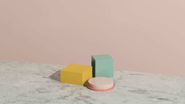 3d render imagem amarelo rosa pódio com fundo rosa anúncio de exibição de produto