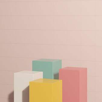 3d render imagem branco amarelo verde pódio com fundo rosa exibição de produto propaganda