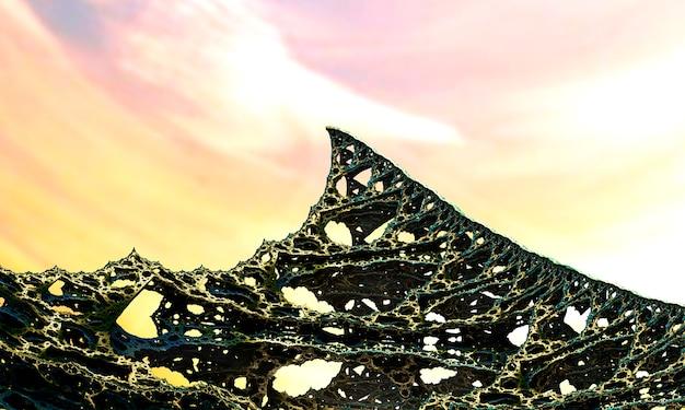 3d render. imagem fractal de um objeto 3d. paisagem fractal. uma imagem colorida gerada por computador. o fundo do fractal. texturas para o design. pintura abstrata. padrão.