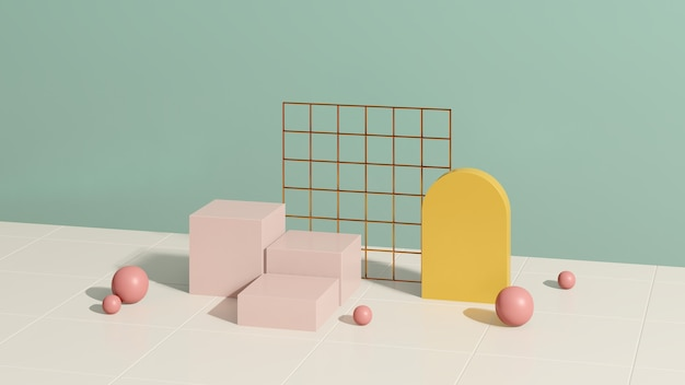 3d render imagem rosa branco pódio com fundo verde anúncio de exibição de produto