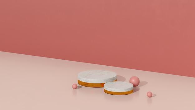 3d render imagem rosa e branco pódio com fundo rosa anúncio de exibição de produto