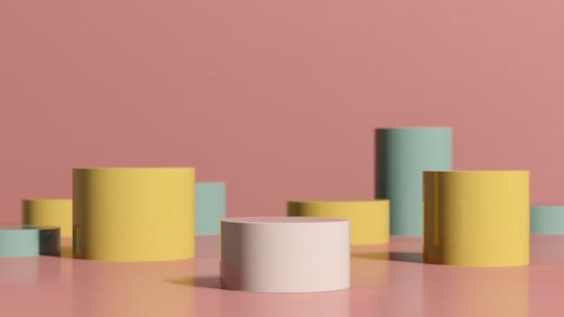 3d render imagem rosa pódio com fundo verde amarelo anúncio de exibição de produto