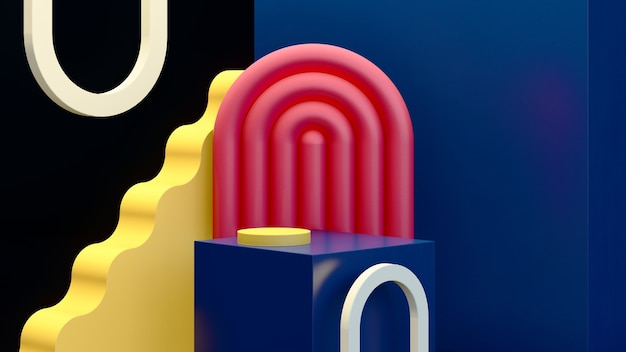 3d render imagem surreal abstrata azul pódio com fundo escuro anúncio de exibição de produto