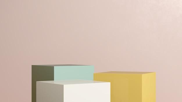 3d render imagem verde amarelo branco pódio com fundo rosa exibição de produto propaganda