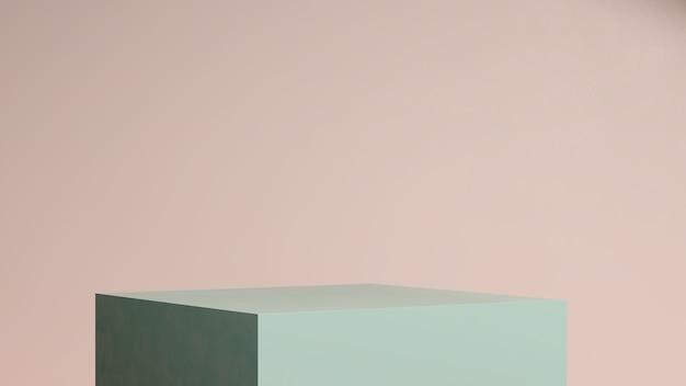 3d render imagem verde pódio com fundo rosa anúncio de exibição de produto
