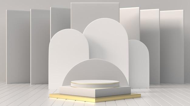 3d render imagens abstratas geométricas, pódio de cilindro, formas primitivas minimalistas, mock-se moderna, modelo em branco, malha, vitrine vazia, vitrine