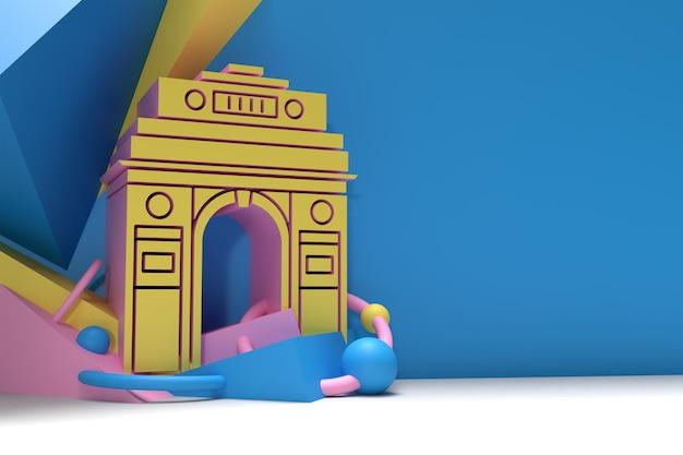 3d render india gate em nova delhi. arco do triunfo da década de 1920 e memorial de guerra. ilustração 3d.