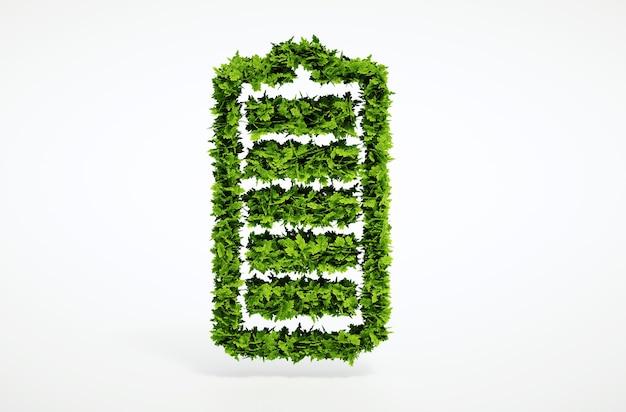 3d render isolado conceito de bateria de ecologia alternativa com fundo branco