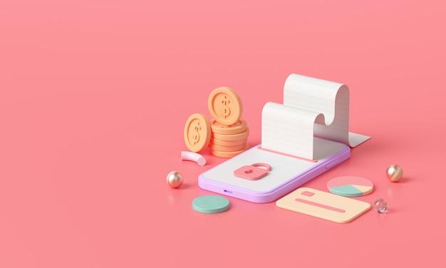 3d render isométrico pagamento por transferência de dinheiro online