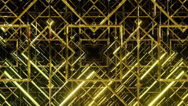 3d render linhas geométricas de luxo dourado em fundo preto