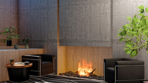 3d render loft com sala de estar com lareira e parede de cimento vazia