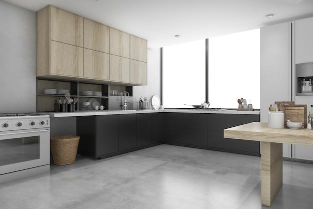 3d render loft concreto e cozinha preta com prateleira de madeira