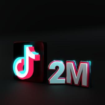 3d render logotipo tiktok com tipografia 2m
