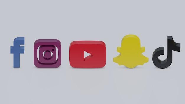 3d render logotipos coloridos de facebook, instagram, youtube, snapchat e tiktok em fundo cinza
