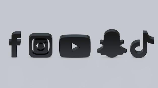 3d render logotipos do facebook, instagram, youtube, snapchat e tiktok pretos em fundo cinza