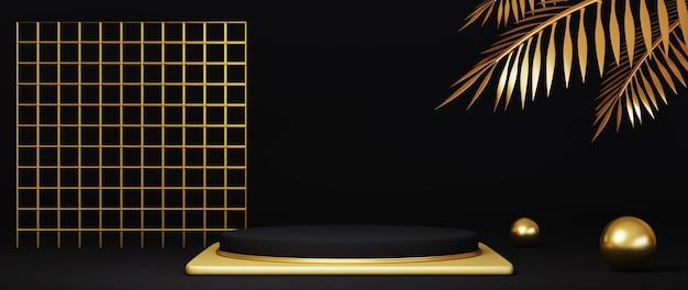3d render luxo preto e dourado pódio com estampado ouro e folhas de palmeira douradas em fundo preto