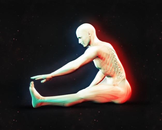 3d, render, macho, figura, estiramento, posição, dupla, cor, efeito