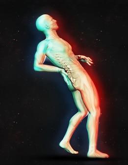 3d, render, macho, figura, segurando, costas, dor ...