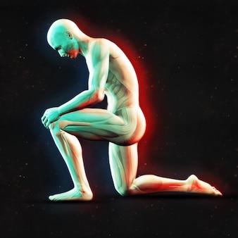 3d, render, macho, figura, segurando, joelho, dupla, cor, efeito