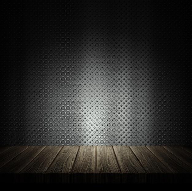 3d, render, madeira, tabela, contra, metal, parede