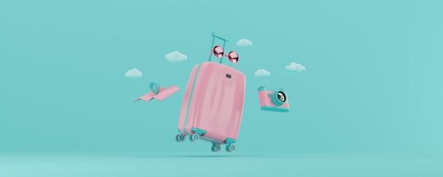 3d render mala rosa claro com acessórios de viagem isolados em fundo azul