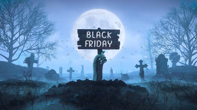 3d render mão de zumbi com uma placa de madeira retirada do solo à noite contra o fundo da lua no cemitério