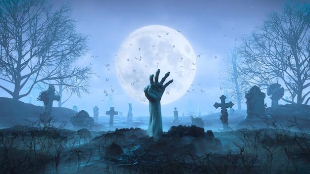 3d render mão de zumbi rasteja para fora do chão à noite contra o fundo da lua no cemitério